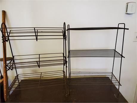 2 Vintage Metal Wire Racks