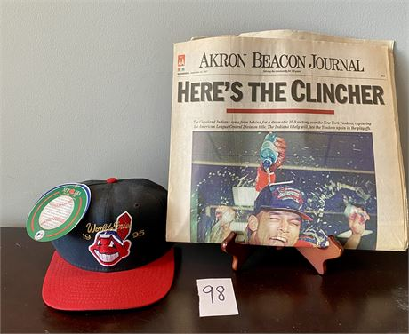 Cleveland Indians 1995 World Series Wool Cap w/ Tags and Akron Beacon Journal