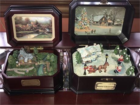 Thomas Kinkade Lamplight Village Music Box & Merry Christmas Music Box