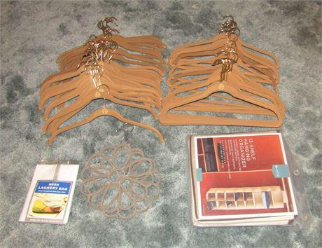 Flock Coated Clothing Hangers, Scarf Hangers, and Hanging Shelf Organizer