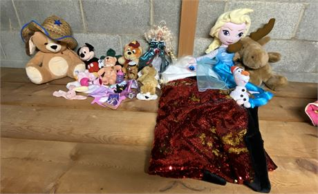 Mickey Mouse and Frozen Characters in Toys and Stuffies Lot