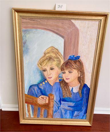 Original Doris Jira Framed Oil on Canvas - Mother and Child