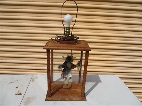 Vintage Native Hopi Indian Kachina Doll Art Glass Display Lamp