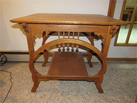 Fab Carved Wood Table, Vintage