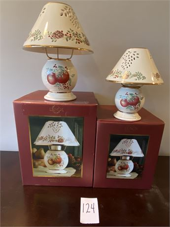 """Lenox """"Boxwood and Pine"""" Matching Tea Light and Candle Lamp Pair"""