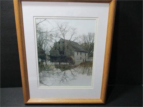 """Vintage 16"""" X 12""""  Old Grist Mill Framed Picture"""