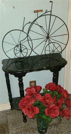 Wooden Side Table w/ Bike Decorations & Flowers