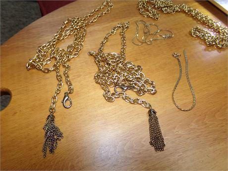 2 Chain Belts, Bracelet, and Necklaces