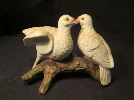Vintage Pair of Bisque China Love Birds Dove on Branch Figurine