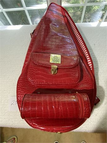 Court Couture Crocodile Embossed Tennis Bag with Racket - Barcelona Style