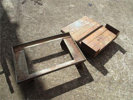 2 Heavy Duty Platform Floor Wheeled Dollies Carts Lot