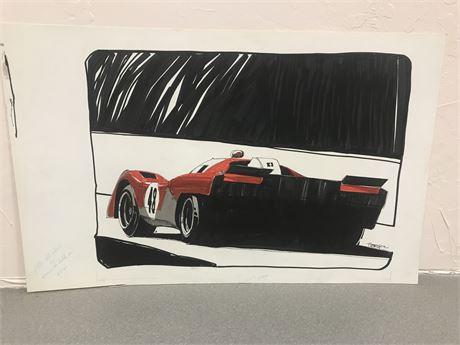 Original Race Car Art by Walt Herip