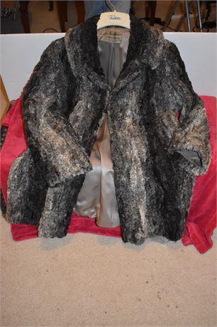 Voula Mitsakou Persian Lamb 1/2 length lined Wool Coat-Made in Greece