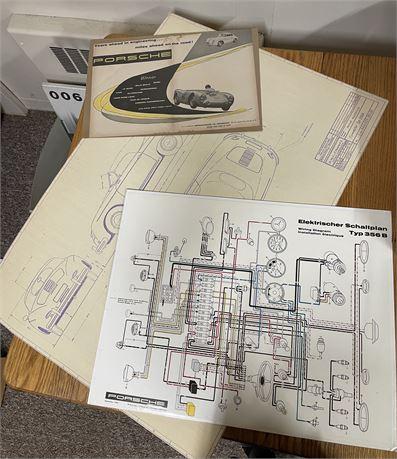 Porsche Wiring Diagram, Speedster Typ 356A Blueprint, Road & Track Ad