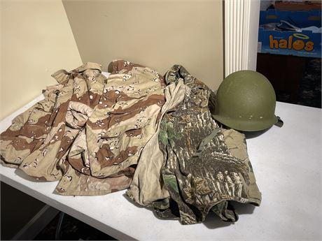Two Camouflage Jackets (both sz L), Hunting Jacket (sz XXL) & Helmet