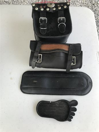 Leather Motorcycle Accessories and Kick Stand Pad