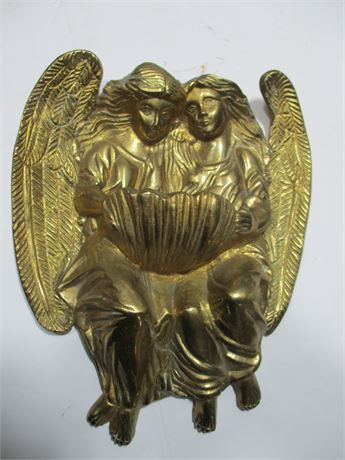 """Vintage 9"""" Solid Brass Gold Colored Angel Wall Art Decoration"""