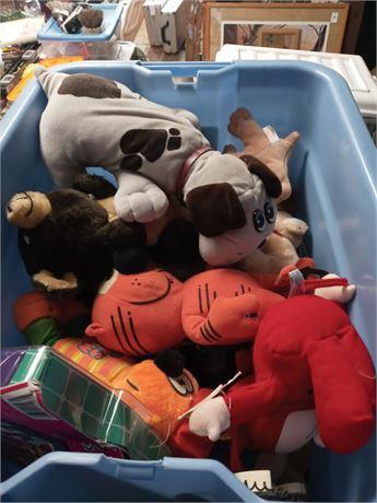 Tote of stuffed animals