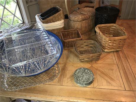 Plastic Serving Trays and Basket Lot #1 including 2 Longaberger Baskets