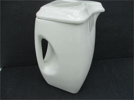 "Vintage AVCO Mid-Century Modern White Square 8"" Pitcher Tea Pot"