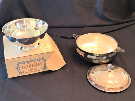 Silver-Plated Paul Revere Bowl and Silver-Plated Salad Serving Dish