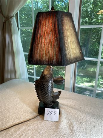 Vintage Bronze Coy Fish Lamp with Wood Base