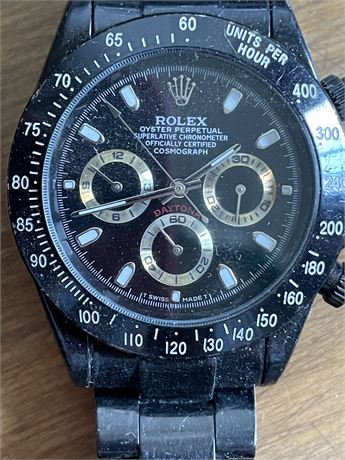 Rolex Men's Black Oyster Perpetual Watch, Missing Stem. Not Authenticated