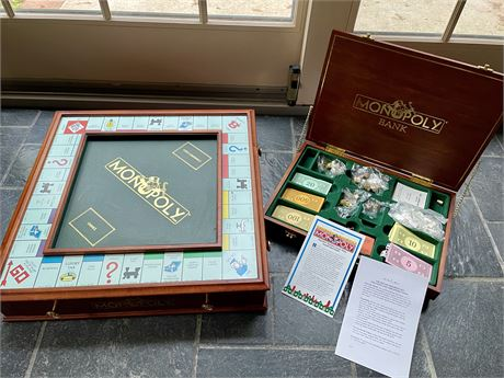 The Danbury Mint Collectible Monopoly Game Board and Bank