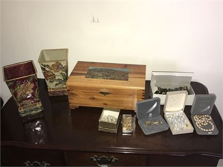 Jewelry Lot with Jewelry Box and 2 Japanese Enamel on Metal Planters