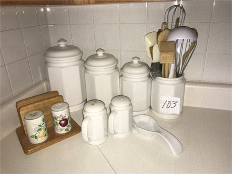 Canister Set and Utensils Holders with Contents, Salt & Pepper sets & Spoon Rest