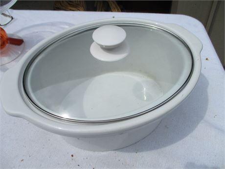 "New 13"" Oval Heavy White Ceramic Crock Pot Liner Dish w/ Lid"