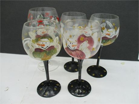 Vintage 5 Pieces Hand Painted Christmas Stemmed Wine Glasses