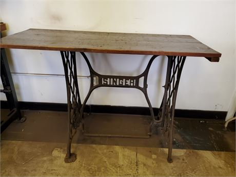 Antique Singer Treadle Base w/ Wood Top
