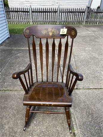 Vintage Stenciled Slat Back Rocking Chair