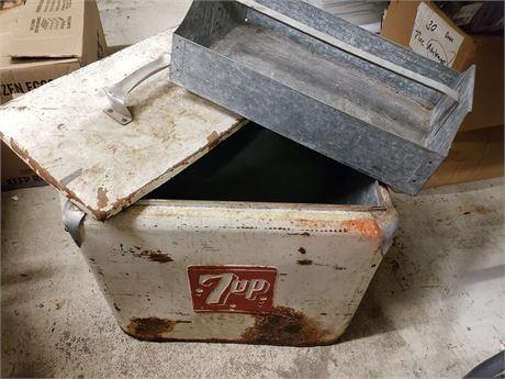 Vintage 7up Metal Cooler