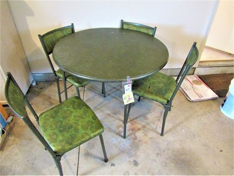 Vintage Round Card Table and Folding Chairs