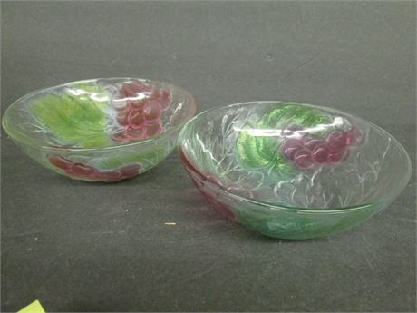 """Two Fancy 7"""" Mikasa Hand Painted Fancy Glass Crystal Bowls"""