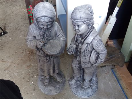 2 Matching Cement Lawn Statues