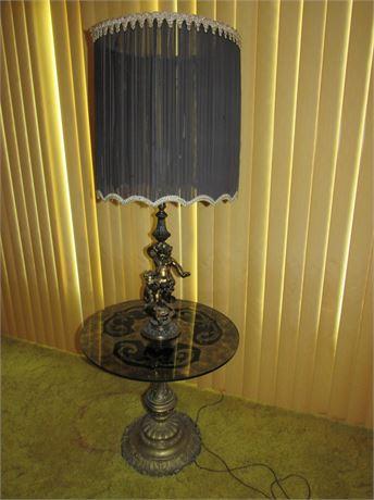 Vintage Cherub Floor Lamp w/ Glass Table