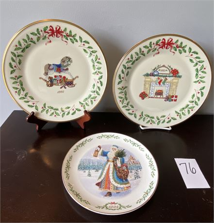 Three Limited Edition Lenox Collector Christmas Plates