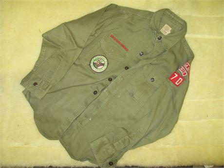 Vintage 1960's Official Boy Scout Cuyahoga Falls Shirt w/ Patch