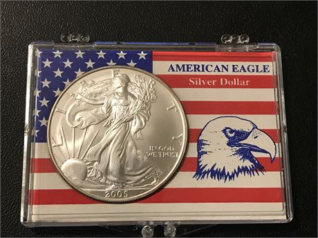 2005 United States Silver Eagle in Case