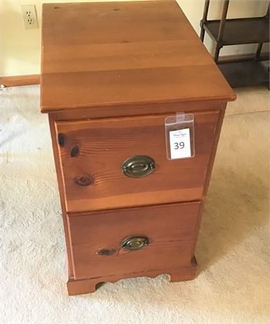Knotty Pine Two-Drawer File Cabinet