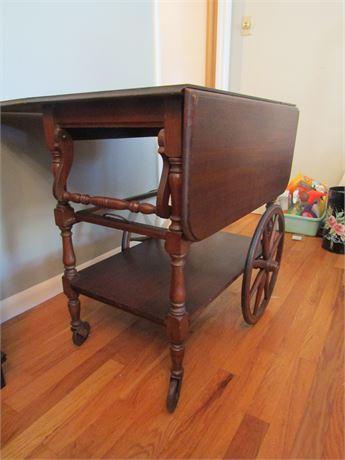 Antique Solid Wood Drop Leaf Tea Cart