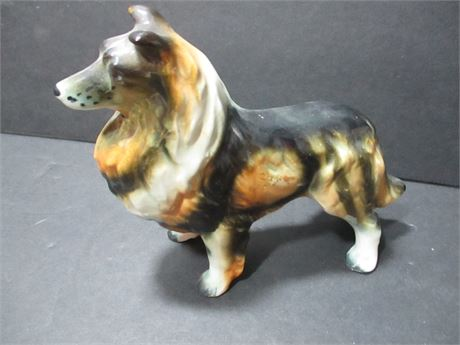 """Vintage Hand Painted Fine Porcelain Japan collie 5"""" Dog"""