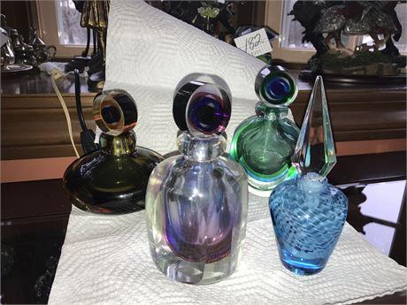 Lot of 4 Art Glass Perfume Bottles