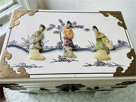 Asian Jewelry Box with All Stone Inlay (Mother of Pearl, Jade, Etc.)