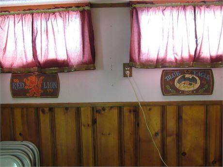 Red Lion & Blue Eagle Wood Beer Signs