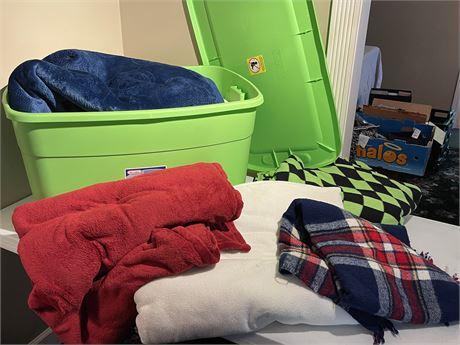 Bin of Blankets - Bin Included