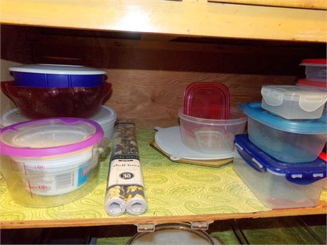 Tupperware, Shelf Liners, and Plastic Storage Containers